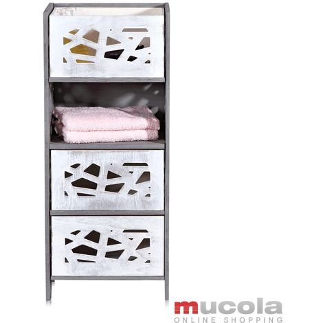 Melko tall cabinet incl. 3 drawers in Shabby Chic grey, 44x33x25 cm wood
