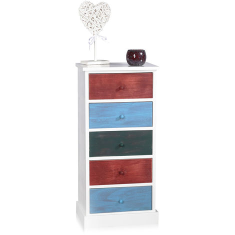 Melko tall cabinet Patchwork with 5 drawers 84 cm x 29 cm x 40 cm (H x W x L)