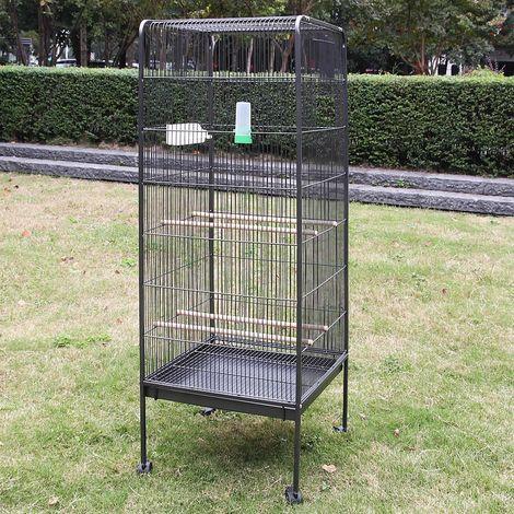 Melko Volière grande volière 146CM Cage pour animaux avec rouleaux Volière d'intérieur avec perchoirs et bols d'alimentation
