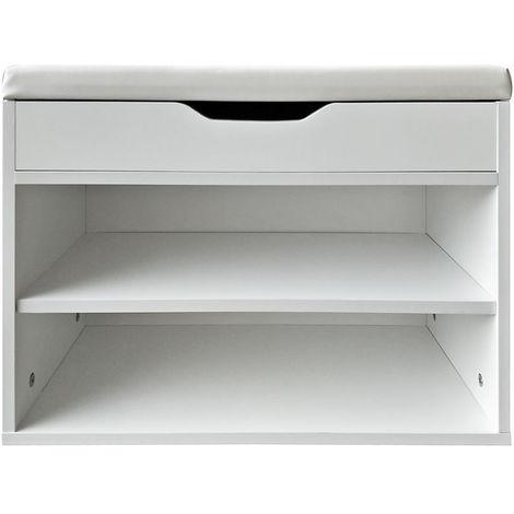 Melko wardrobe bench with shoe rack White shoe chest 60x30x45CM shoe rack with seat Corridor bench
