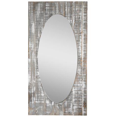 Melko wardrobe mirror long 92x48 cm wall mirror oval dressing mirror hall mirror hall mirror wood Shabby Chic brown