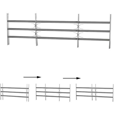 Melko window grilles balcony grilles bar railing as burglary protection made of steel, silver, 3 crossbars, 45 x 100-150 cm - with decorative X-arches