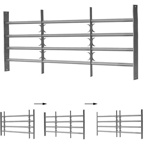 Melko window grilles balcony grilles bar railings as burglary protection made of steel, silver, 4 crossbars, 60 x 100-150 cm - with decorative X-arches