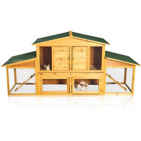 Melko XXL Clapier d'extérieur pour lapins, résistant à l'hiver, à roue libre, 215 x 73 x 100 cm, en bois avec tiroirs pour un nettoyage facile