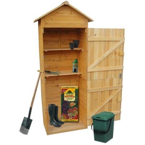 Melko XXL Gerätehaus Geräteschuppen Gartenschrank mit Spitzdach, aus Holz, 79 x 49 x 190 cm, Geräteschrank Gartenhaus