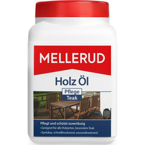 Mellerud Holz Pflege-Öl Teak Holzlasur auf Naturölbasis, Innen & Außen, 750ml