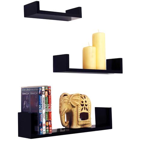 "main image of ""MELODY - Wall Mounted Floating Gloss Display Storage Shelves - Set of 3 - Black"""