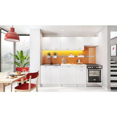 MELY - Cuisine Complète Modulaire + Linéaire L 240 cm 7 pcs - Plan de travail INCLUS - Ensemble armoires meubles cuisine - Blanc