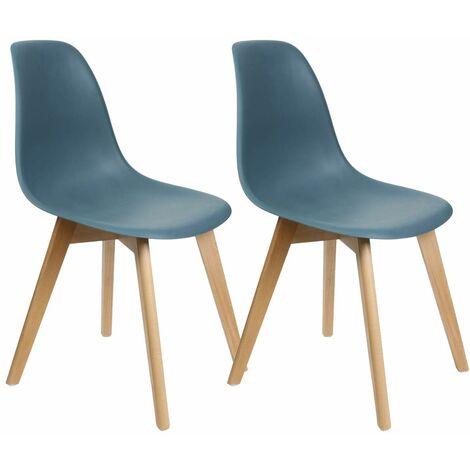 Melya - Lot de 2 Chaises Scandinaves Bleu Canard - Bleu