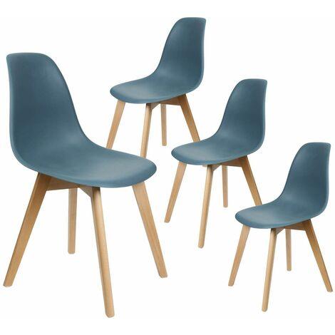 Melya - Lot de 4 Chaises Scandinaves Bleu Canard