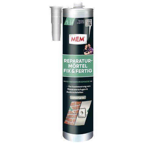 MEM Bauchemie Mortier de réparation pour produits chimiques de construction , Fix & Ready, gris ciment, cartouche de 300 ml