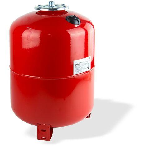 Membran Druckausdehnungs-Gefäß 50L Heizung Ausdehnungsgefäß stehend rot Behälter