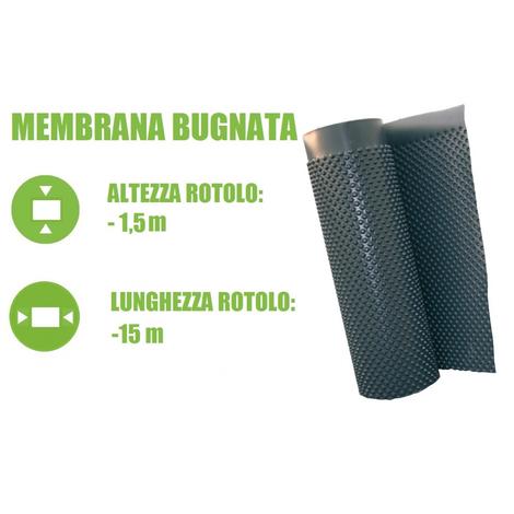 Membrana Bugnata Impermeabilizzante in Polietilene ad Alta Densit… H 1,5x15 m - Italfrom