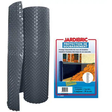 Membrane de fondation 1 x 10 m protection de soubassement bi-couche en PE-HD à alvéoles - Poids 400 gr/m², épaisseur 520 microns