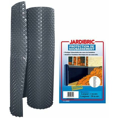 Membrane de fondation 1m x 20m protection de soubassement bi-couche en PE-HD à alvéoles - Poids 400 gr/m², épaisseur 520 microns