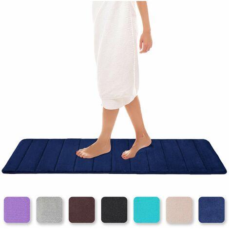"main image of ""Memory Foam Bath Mat Absorbent Non-Slip Bath Mat Washable Bath Mat - 40 x 120 cm, Navy Blue SOEKAVIA"""