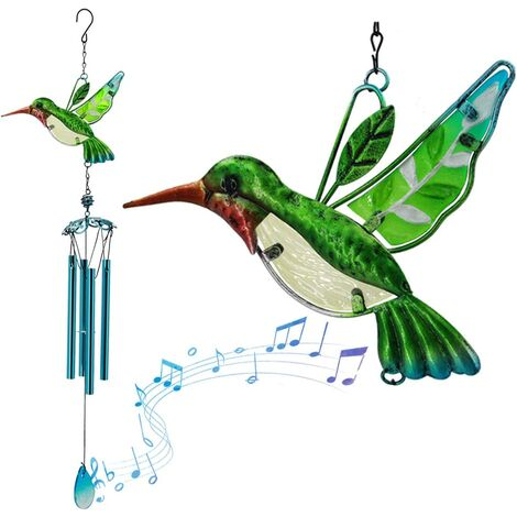 Memory Wind Chimes Outdoor, Hummingbird Wind Chime for Mom, Outdoor Stained Glass Hummingbird Chime for Garden Home Window Decor, Memorial Gifts for Housewarming Thanksgiving Xmas