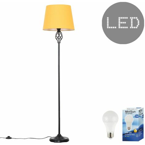 Memphis Black Twist Floor Lamp + 10W LED GLS Bulb - Mustard - Black