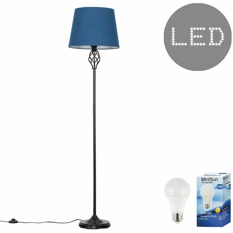 Memphis Black Twist Floor Lamp + 10W LED GLS Bulb - Mustard - Black