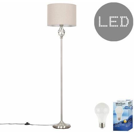 Memphis Brushed Chrome Floor Lamp + 10W LED GLS Bulb - Black - Silver