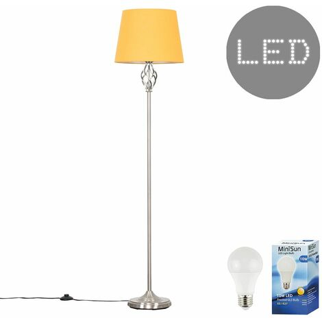 Memphis Twist Floor Lamp + 10W LED GLS Bulb - Mustard - Silver
