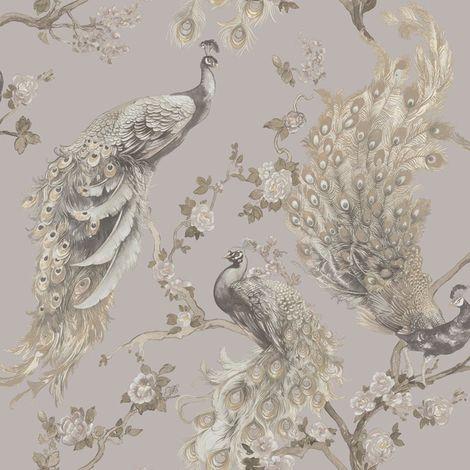 Menali Peacock Glitter Wallpaper Grey White Birds Leaf Floral Vinyl Holden Decor