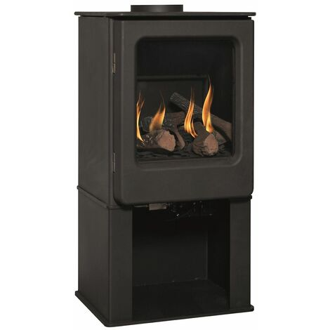 Mendip Ashcott Large Glass Natural Gas Stove Fire Steel Log Store Freestanding