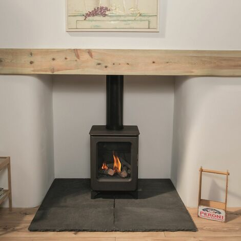 Mendip Ashcott Natural Gas Stove Fire Steel Large Glass Window Freestanding