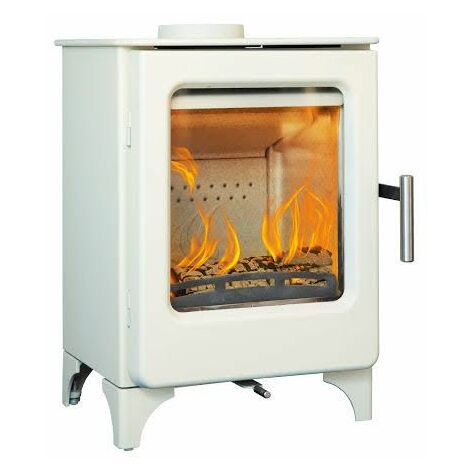 Mendip Ashcott Wood Burning Stove Glass Window 4.7kW Ivory Fire Eco & Defra