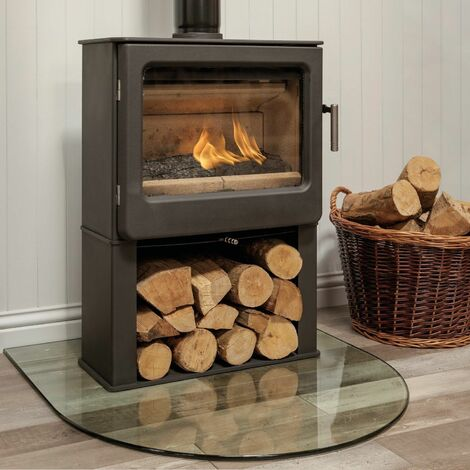 Mendip Ashcott Wood Burning Stove Log Store Glass Large Viewing Window 4.7kW