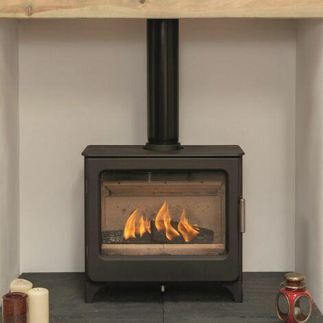 Mendip Ashcott Wood Burning Stove Log Store Glass Window 4.7kW Large Fire Eco
