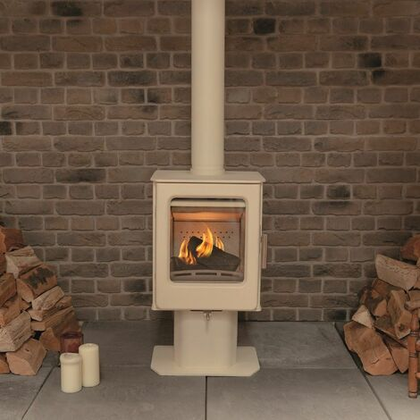 Mendip Ashcott Wood Burning Stove Pedestal Ivory Window 4.7kW Large Glass View