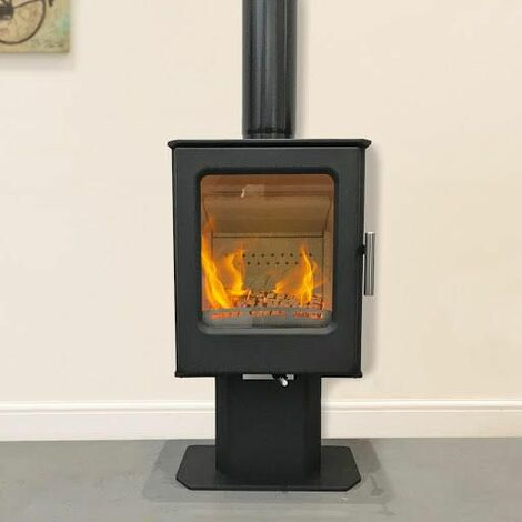 Mendip Wood Burning Stove Window 4.7kW Fire Eco & Defra Pedestal Freestanding