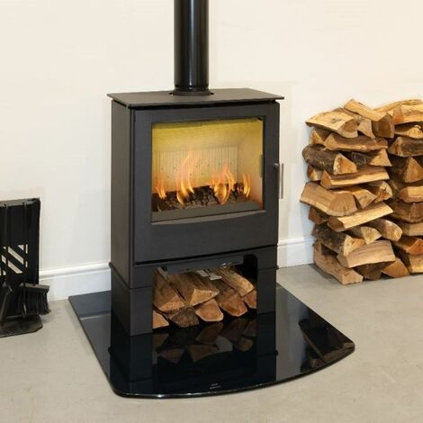 Mendip Woodland 5kW Multi Fuel Stove Log Store Glass Window Fire Steel Eco Defra