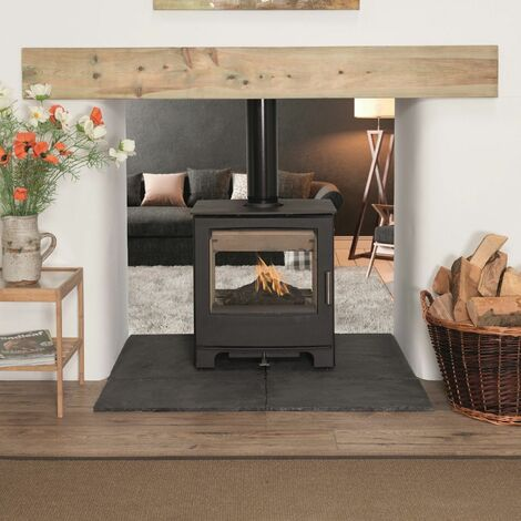 Mendip Woodland Double Sided Wood Stove Large Glass Viewing Window Fire 8kW