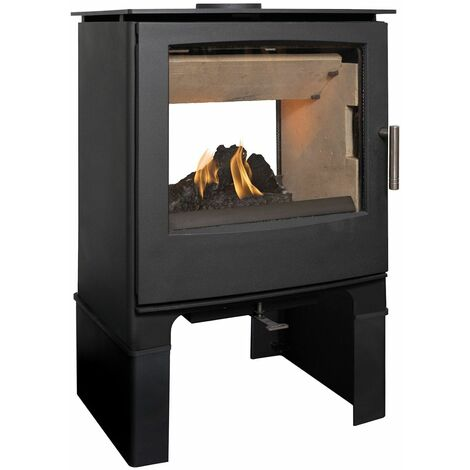 Mendip Woodland Double Sided Wood Stove Log Store Glass Viewing Window Fire 8kW