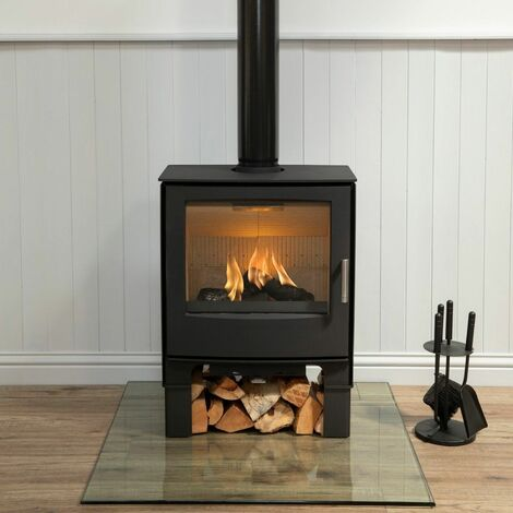 Mendip Woodland Large Multi Fuel Stove Log Store Glass Viewing Window Fire 5.0kW