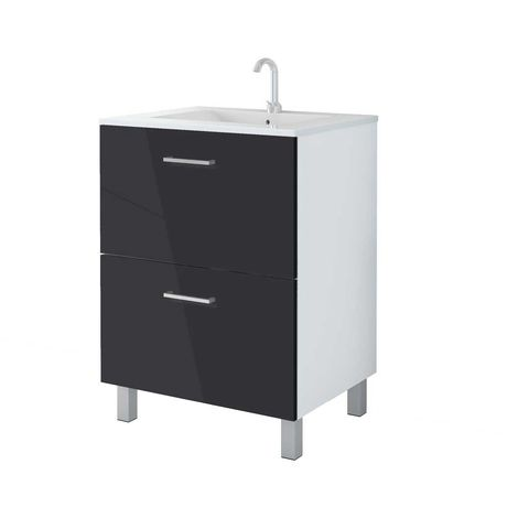 MENNZA Conjúnto de sala de baño DAIA 60 cm negro brillante