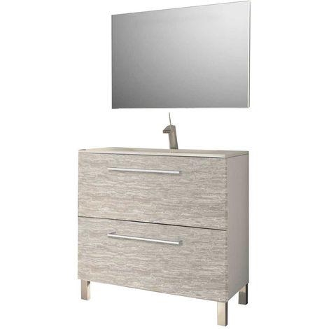 MENNZA Conjúnto de sala de baño DAIA 80 cm leña textura murati