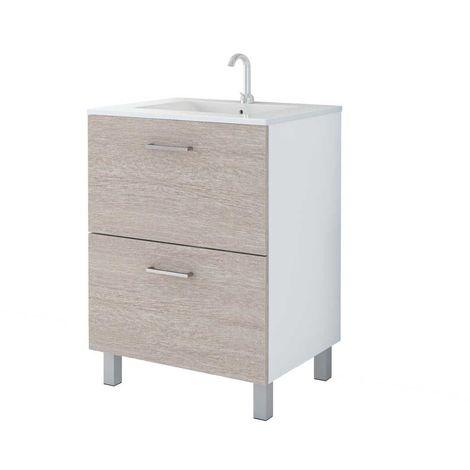 MENNZA Meuble de salle de bain DAIA 60 cm bois texturé murati