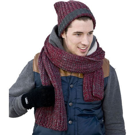 Mens Beanie Hat- Long Scarf Winter Thermal Fashion Set Oxblood