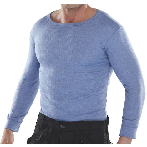 Men's Blue Thermal Long Sleeved Vests