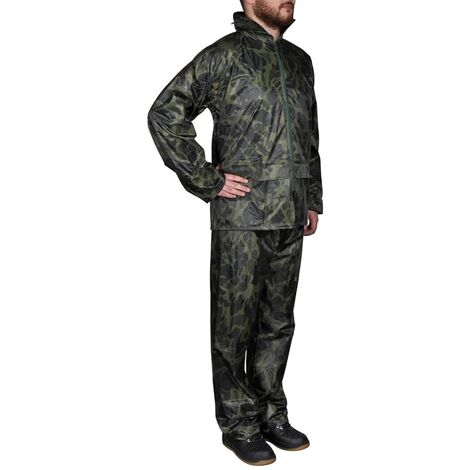 Men's Camo Print 2-Piece Rain Suit with Hood M