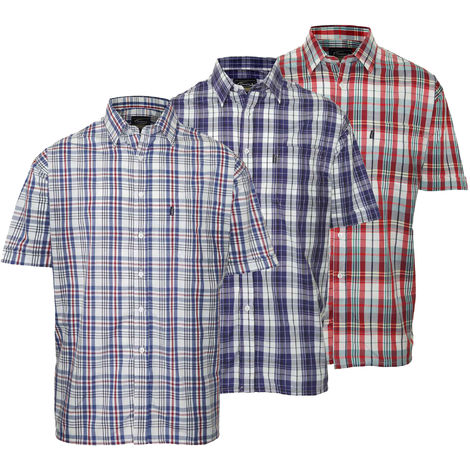 Mens Champion Country Style Casual Short Sleeved Shirts 3 Pack Medium