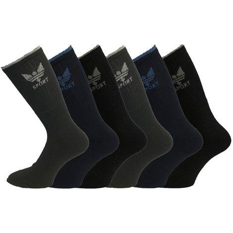 Mens Classic 80% Cotton Rich Sport Socks 6-11 3PK Darks Crown Logo