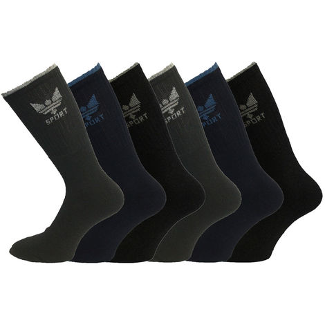 Mens Classic 80% Cotton Rich Sport Socks 6-11 6PK Darks Crown Logo