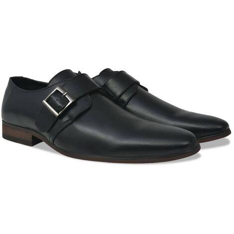 Men's Monk Strap Shoes Black Size 7.5 PU Leather