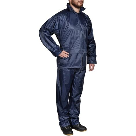 Men's Navy Blue 2-Piece Rain Suit with Hood L