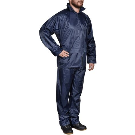 Men's Navy Blue 2-Piece Rain Suit with Hood M