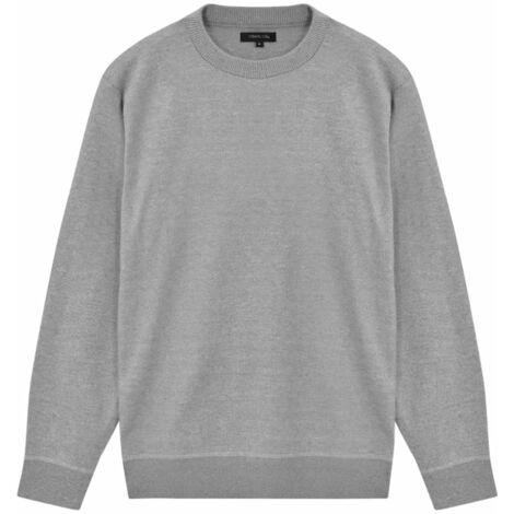 Men's Pullover Sweater Round Neck Grey XXL